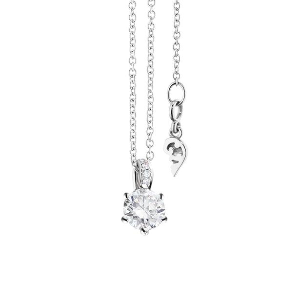 """Collier """"Diamante in Amore"""" 750WG 6-er Krappe, Brillantöse, 1 Diamant Brillant-Schliff 0.33ct TW/si1 GIA Zertifikat, 5 Diamanten Brillant-Schliff 0.02ct TW/vs1, Länge 45.0 cm, Zwischenöse bei 42.0 cm"""