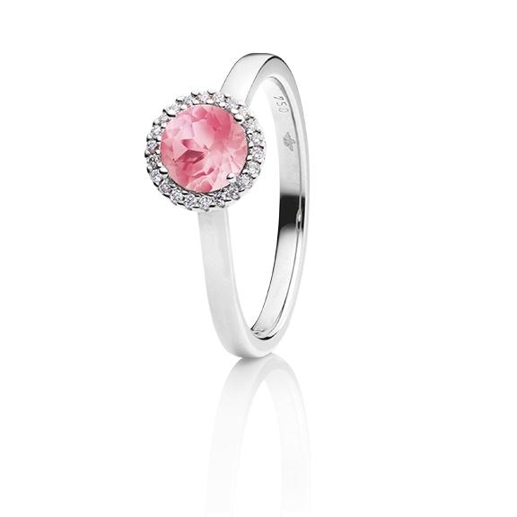 "Ring ""Espressivo"" 750WG, Turmalin pink facettiert Ø 6.0 mm ca. 0.90ct, 22 Diamanten Brillant-Schliff 0.06ct TW/si1"