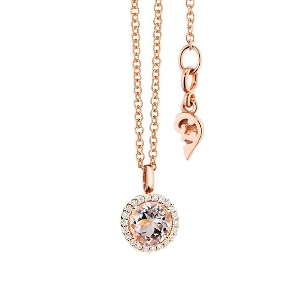 "Anhänger ""Espressivo"" 750RG, Morganit facettiert Ø 6.0 mm ca. 0.85ct, 22 Diamanten Brillant-Schliff 0.06ct TW/si"