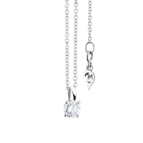 """Collier """"Diamante in Amore"""" 750WG 4-er Krappe, Schlaufe, 1 Diamant Brillant-Schliff 0.25ct TW/vs1, Länge 45.0 cm, Zwischenöse bei 42.0 cm"""
