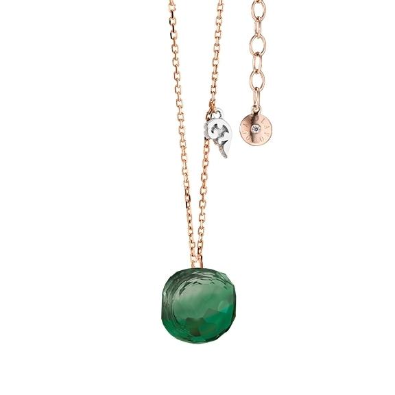 """Collier """"Happy Holi"""" 750RG, Achat grün Cabochon  9.0 x 9.0 mm facettiert, Länge 45.0 cm, Zwischenöse bei 42.0 cm"""