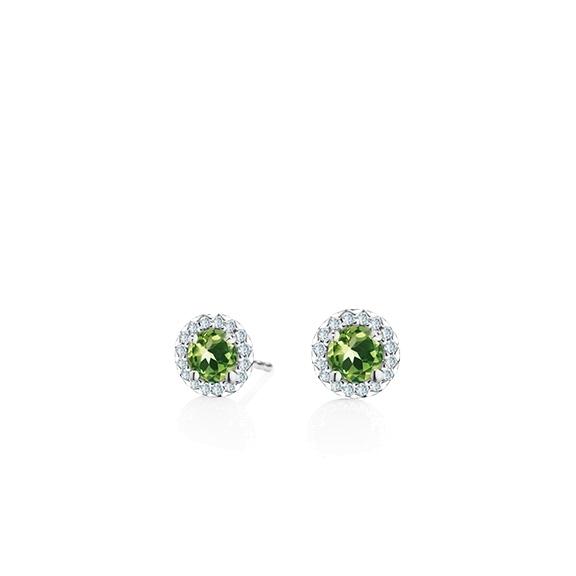"Ohrstecker ""Espressivo"" 750WG Peridot facettiert Ø 4.0 mm ca. 0.40ct, 32 Diamanten Brillant-Schliff 0.08ct TW/si"