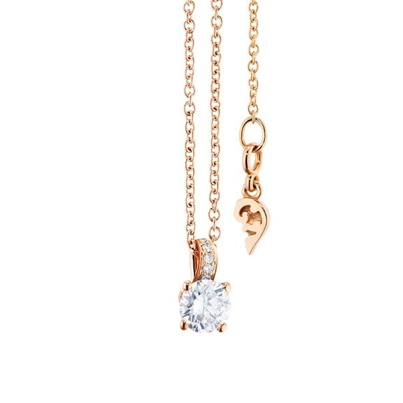 "Collier ""Diamante in Amore"" 750RG 4-er Krappe, Brillantschlaufe, 1 Diamant Brillant-Schliff 0.30ct TW/vs1, 5 Diamanten Brillant-Schliff 0.02ct TW/vs1, Länge 45.0 cm, Zwischenöse bei 42.0 cm"