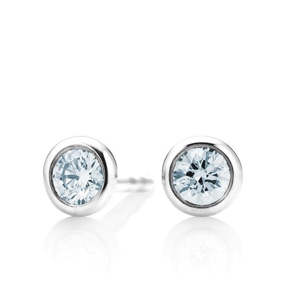 """Ohrstecker """"Classico"""" 750WG Zargenfassung, 2 Diamanten Brillant-Schliff 1.00ct TW/si GIA Zertifikat"""