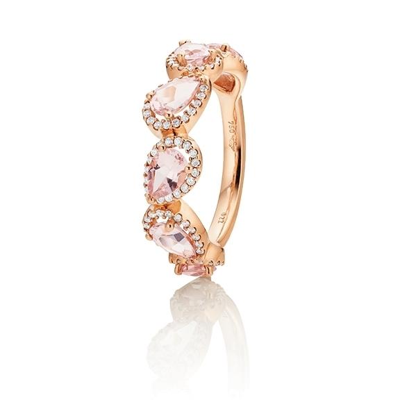 "14k Ring ""Jennifer x Espressivo"" Roségold, 6 Morganit facettiert 6x4 mm ca. 2,10ct, 102 Diamanten Brillant-Schliff 0.21ct TW/si1"