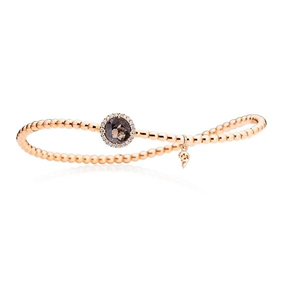 "Armband ""Espressivo"" 750RG, Rauchquarz facettiert Ø 6.0 mm, 22 Diamanten Brillant-Schliff 0.06ct TW/si, Innenumfang 17.0 cm"
