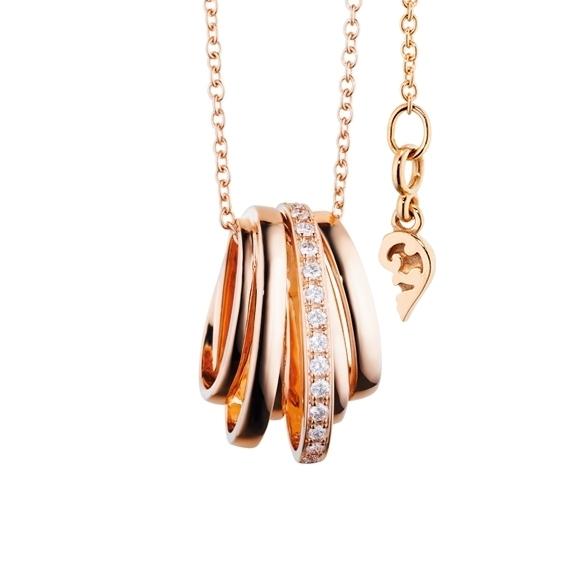 """Anhänger """"La Donna"""" 750RG, 14 Diamanten Brillant-Schliff 0.35ct TW/si"""