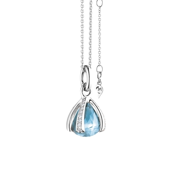 "Anhänger ""Capriccio"" 750WG, Topas sky blue facettiert Ø 12.0 mm ca. ???ct, 32 Diamanten Brillant-Schliff 0.39ct TW/vs"