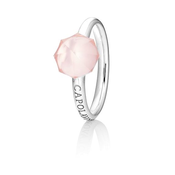 "Ring ""My Sunshine"" 750WG, Rosenquarz Cabochon facettiert  8.90 x 8.90mm ca. 4.10ct, 1 Diamant Brillant-Schliff 0.004ct TW/vs1"