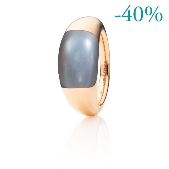 "Ring ""Serenade"" 750RG, Mondstein grau dunkel Cabochon 15.0 x 9.0 mm ca. 7.50ct"