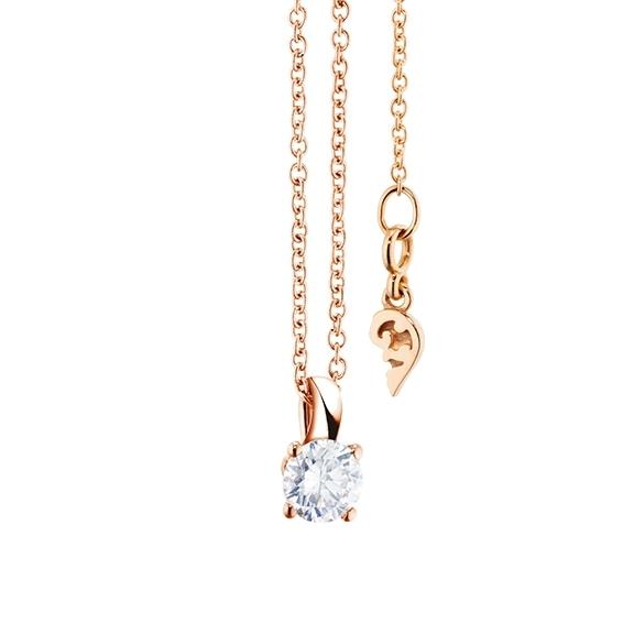 """Collier """"Diamante in Amore"""" 750RG 4-er Krappe, Schlaufe, 1 Diamant Brillant-Schliff 0.30ct TW/vs1, Länge 45.0 cm, Zwischenöse bei 42.0 cm"""