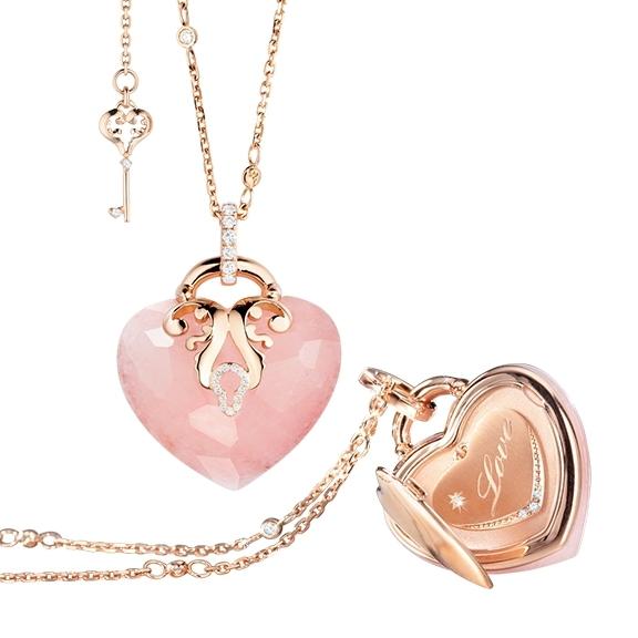 "Collier ""Love Message"" limitierte Edition 750RG, 1 Milchquarz rosa facettiert, 43 Diamanten Brillant-Schliff 0.53ct TW/vs1, Länge Collier 70.0cm, Länge Armband 19.0cm"