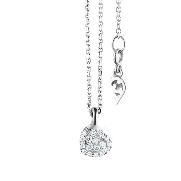 """Anhänger """"Dolcini"""" Herz in 750WG, 17 Diamanten Brillant-Schliff 0.08ct TW/vs"""