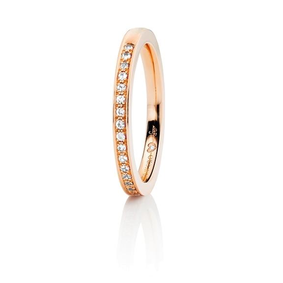 """Memoirering """"Diamante in Amore"""" 750RG Fadenfassung, 23 Diamanten Brillant-Schliff 0.15ct TW/vs1, 1 Diamant Brillant-Schliff 0.005ct TW/vs1"""