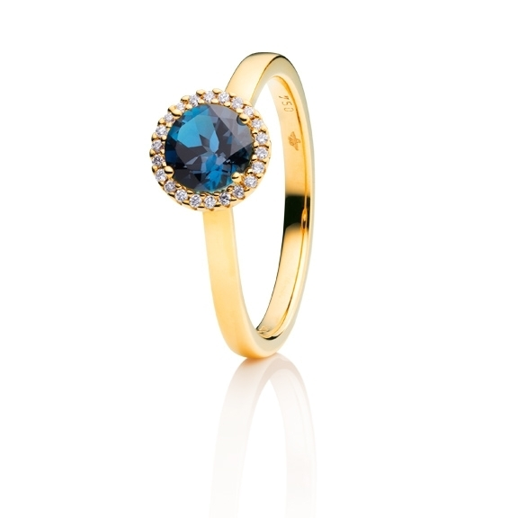 "Ring ""Espressivo"" 750GG, Topas London blue facettiert Ø 6.0 mm ca. 1.00ct, 22 Diamanten Brillant-Schliff 0.06ct TW/si"