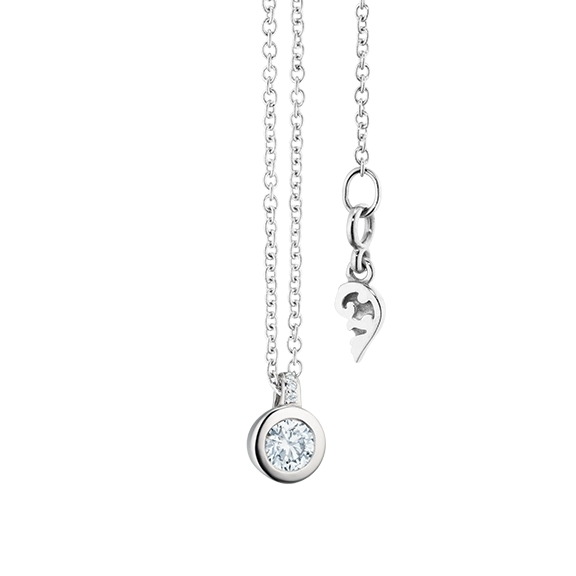 """Collier """"Diamante in Amore"""" 750WG Zargenfassung, Brillantschlaufe, 1 Diamant Brillant-Schliff 0.15ct TW/vs1, 3 Diamanten Brillant-Schliff 0.009ct TW/vs1, Länge 45.0 cm, Zwischenöse bei 42.0 cm"""