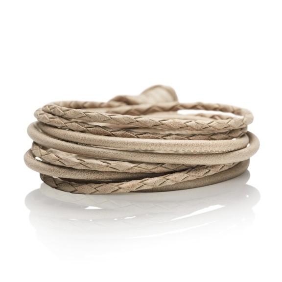 Armband Kalbsleder sand 4-reihig, Ø 3.0 mm, 42.0 cm