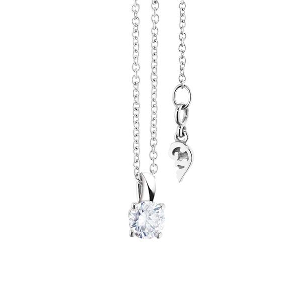 """Collier """"Diamante in Amore"""" 750WG 4-er Krappe, Schlaufe, 1 Diamant Brillant-Schliff 0.30ct TW/vs1, Länge 45.0 cm, Zwischenöse bei 42.0 cm"""