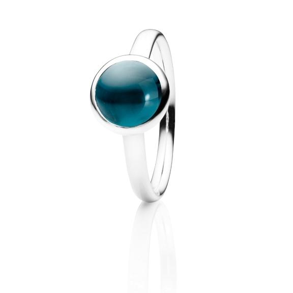 "Ring ""Velluto"" 750WG, Topas London blue Cabochon Ø 8.0 mm ca. 2.00ct"