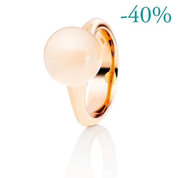 """Ring """"Dei Fiori"""" 750RG, Mondstein champagner Cabochon ca. 6.50ct"""