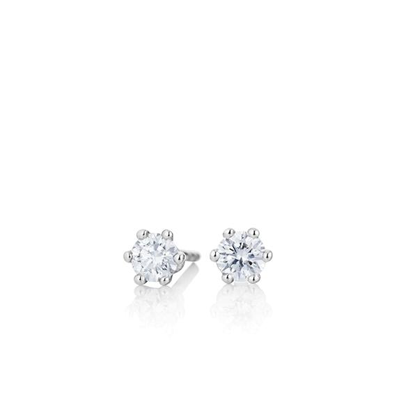 "Ohrstecker ""Diamante in Amore"" 750WG 6-er Krappe, 2 Diamanten Brillant-Schliff 0.30ct TW/si1"