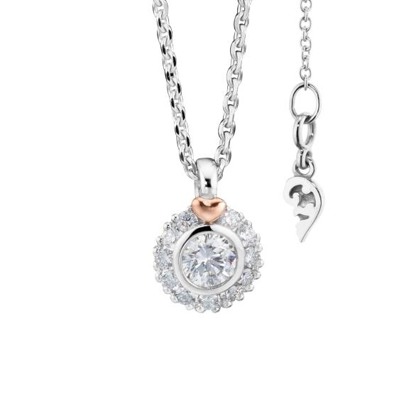 "Collier ""Di Cuore"" 750WG mit RG-Herz, 1 Diamant Brillant-Schliff 0.15ct TW/vs1, 11 Diamanten Brillant-Schliff 0.08ct TW/vs1, Länge 45.0 cm"