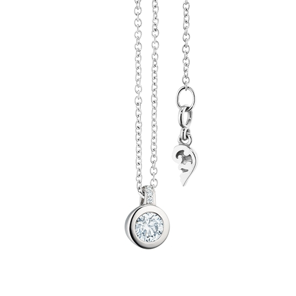 "Collier ""Diamante in Amore"" 750WG Zargenfassung, Brillantschlaufe, 1 Diamant Brillant-Schliff 0.20ct TW/vs1, 3 Diamanten Brillant-Schliff 0.009ct TW/vs1, Länge 45.0 cm, Zwischenöse bei 42.0 cm"