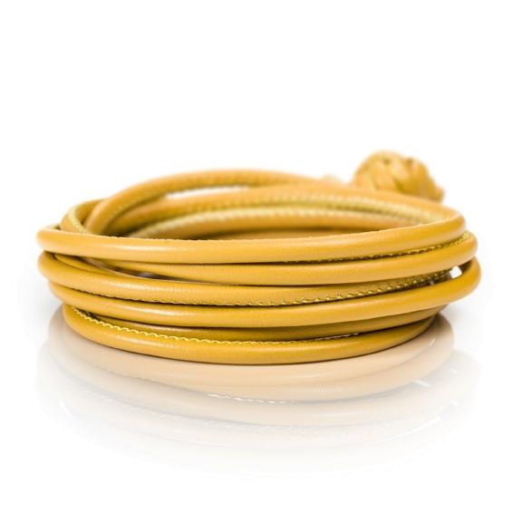 Armband Kalbsleder curry 4-reihig, Ø 3.0 mm, 42.0 cm