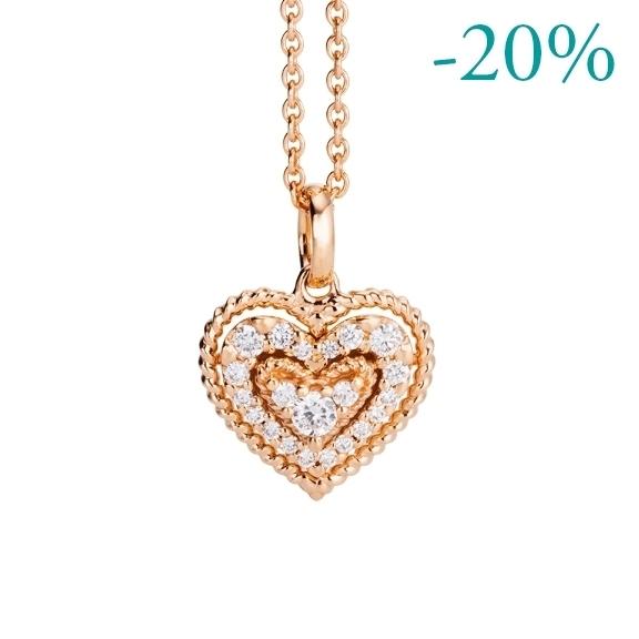 """Anhänger """"Valentine"""" 750RG, 21 Diamanten Brillant-Schliff 0.18ct TW/si"""