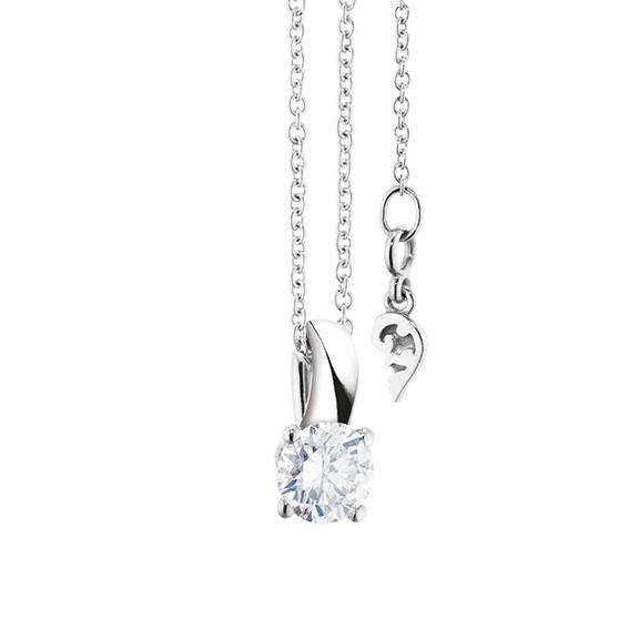 """Collier """"Diamante in Amore"""" 750WG 4-er Krappe, Schlaufe, 1 Diamant Brillant-Schliff 0.50ct TW/vs1 GIA Zertifikat, Länge 45.0 cm, Zwischenöse bei 42.0 cm"""