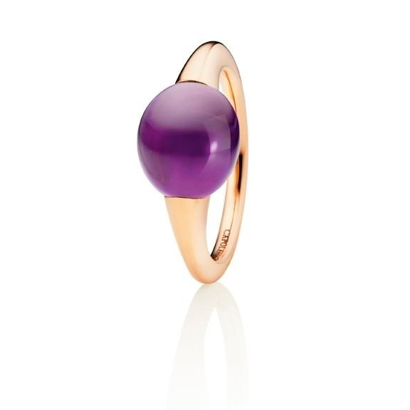 "Ring ""Tramonto"" 750RG, Amethyst medium Cabochon 9.0 x 10.0 mm ca. 5.1ct"