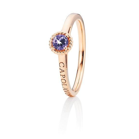 """Ring """"Amore Mio"""" 750RG, 1 Saphir lila facettiert Ø 4.0 mm ca. 0,24ct, 1 Diamant Brillant-Schliff 0.005ct TW/vs1"""