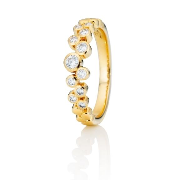 "Ring ""Prosecco"" 750GG, 11 Diamanten Brillant-Schliff 0.30ct TW/vs"