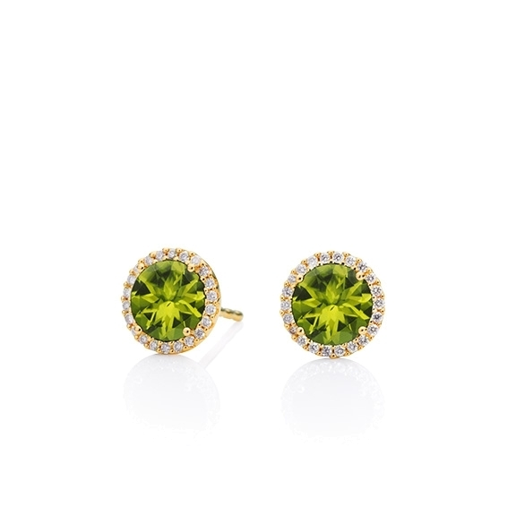 "Ohrstecker ""Espressivo"" 750GG, Peridot facettiert Ø 6.0 mm, 44 Diamanten Brillant-Schliff 0.12ct TW/si"