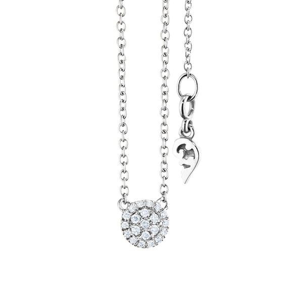 """Collier """"Dolcini"""" 750WG, 21 Diamanten Brillant-Schliff 0.10ct TW/vs, Länge 45.0 cm, Zwischenöse bei 42.0 cm"""