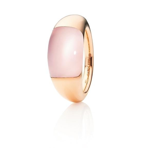 """Ring """"Serenade"""" 750RG, Rosenquarz klar Cabochon 15.0 x 9.0 mm ca. 7.5ct"""