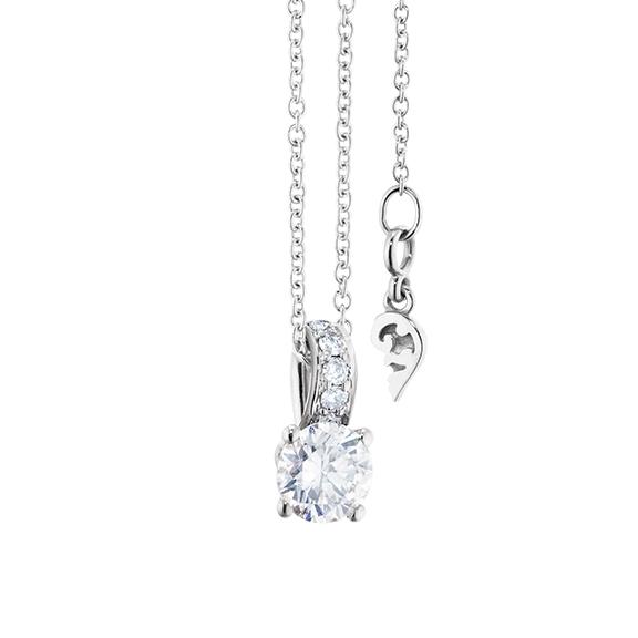 """Collier """"Diamante in Amore"""" 750WG 4-er Krappe, Brillantöse, 1 Diamant Brillant-Schliff 0.50ct TW/vs1 GIA Zertifikat, 5 Diamanten Brillant-Schliff 0.02ct TW/vs1, Länge 45.0 cm, Zwischenöse bei 42.0 cm"""