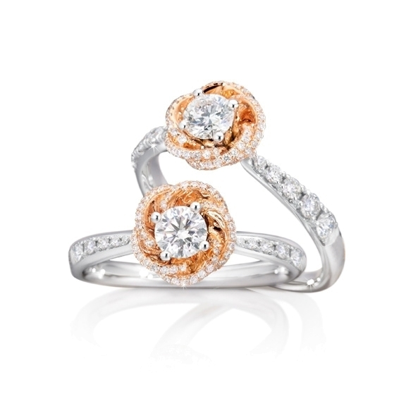 "Ring ""Rose Dream"" 750WG/RG Krappenfassung, 1 Diamant Brillant-Schliff 0.33ct TW/vs1 GIA Zertifikat, 85 Diamanten Brillant-Schliff 0.39ct TW/vs1"