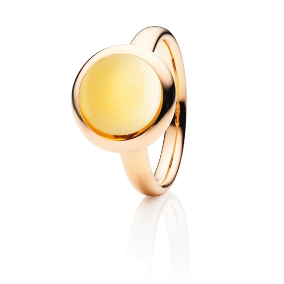 "Ring ""Velluto"" 750RG, Citrin medium Cabochon Ø 11.0 mm, ca. 4.5ct"