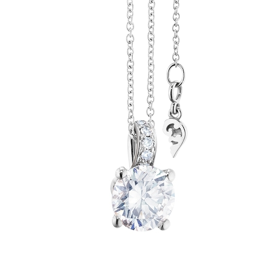 "Collier ""Diamante in Amore"" 750WG 4-er Krappe, Brillantöse, 1 Diamant Brillant-Schliff 1.00ct TW/vs1 GIA Zertifikat, 5 Diamanten Brillant-Schliff 0.03ct TW/vs1, Länge 45.0 cm, Zwischenöse bei 42.0 cm"