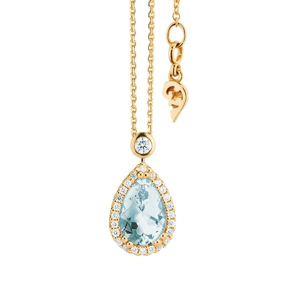 """Collier """"Espressivo"""" 750GG Topas sky blue Tropfen 12.0 x 8.0 mm ca. 3.50ct, 31 Diamanten Brillant-Schliff 0.22ct TW/si, Länge 45.0 cm Zwischenöse bei 42.0 cm"""