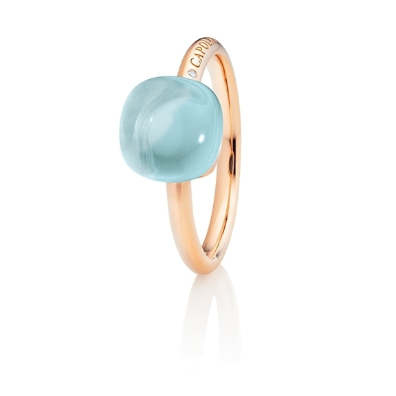 "Ring ""Happy Holi"" 750RG, Chalcedon aqua Cabochon  9.0 x 9.0 mm, ca. 3.90ct, 1 Diamant Brillant-Schiff 0.004ct TW/vs1"