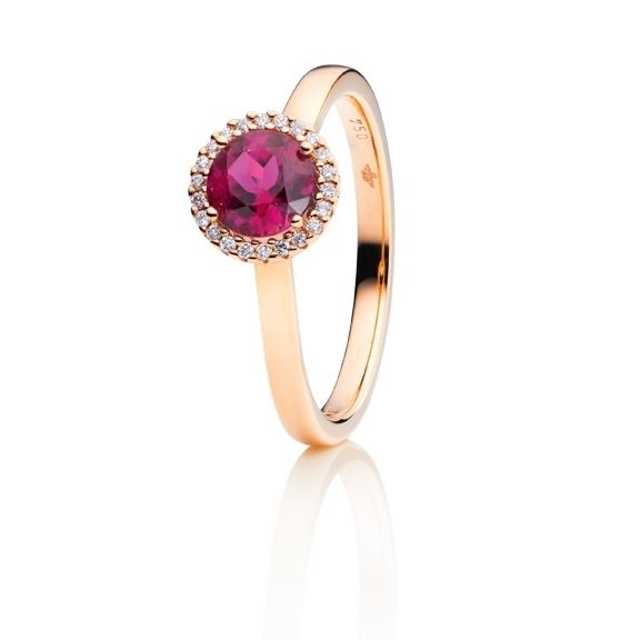 "Ring ""Espressivo"" 750RG, Rubelith facettiert Ø 6.0 mm, 22 Diamanten Brillant-Schliff 0.06ct TW/si"