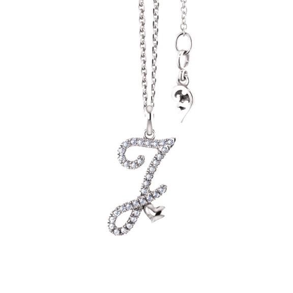 """Anhänger """"Poesia"""" 750WG, Buchstabe """"J"""", 34 Diamanten Brillant-Schliff 0.12ct TW/vs"""