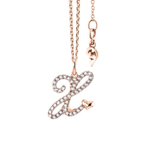 """Anhänger """"Poesia"""" 750RG, Buchstabe """"X"""", 43 Diamanten Brillant-Schliff 0.17ct TW/vs"""