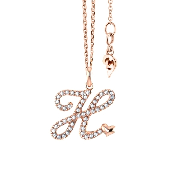 """Anhänger """"Poesia"""" 750RG, Buchstabe """"H"""", 50 Diamanten Brillant-Schliff 0.19ct TW/vs"""