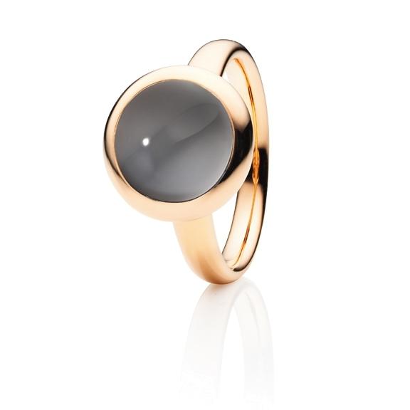 "Ring ""Velluto"" 750RG, Mondstein grau dunkel Cabochon Ø 11.0 mm ca. 4.5ct"