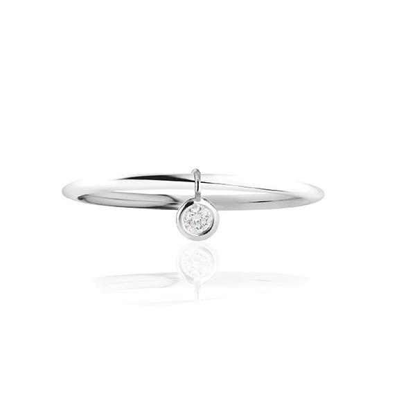 """Ring """"Prosecco"""" 750WG, 1 Diamant Brillant-Schliff 0.10ct TW/vs1, beweglicher Anhänger"""