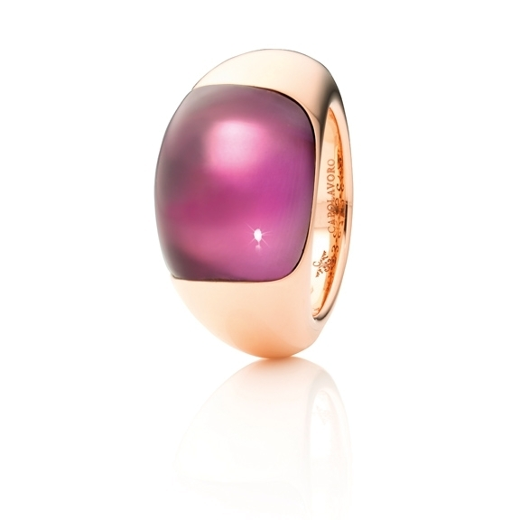 "Ring ""Serenade"" 750RG, Amethyst medium Cabochon ca. 17.0ct"