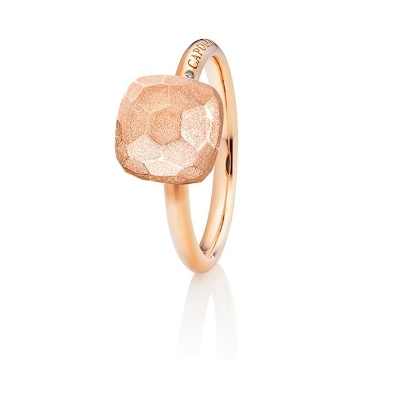 """Ring """"Happy Holi"""" 750RG, Gold facettiert, 1 Diamant Brillant-Schliff 0.004ct TW/vs1"""